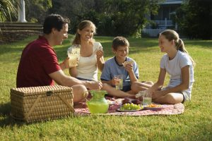 Caucasian family of four having Connected Family Fun, LA picnic and family meeting in park as a family therapy homework assignment.
