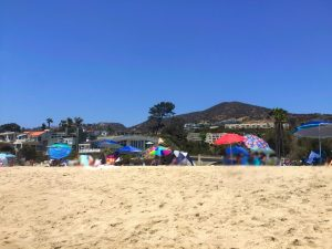Bright blue sky, green mountains, and palm trees are the background for houses along the beach and families under beach umbrellas partaking in family fun for a Connected Family Fun, LA; Aliso Beach, Laguna day at the beach.